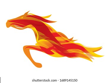 Running Fire horse. Colorful stylized illustration of orange horse. Vector available.