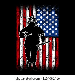 Running Firefighter with a American Flag as background