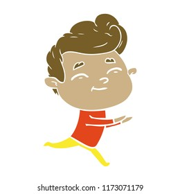 running flat color style cartoon man