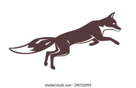 Running fox silhouette.