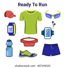 Running Gear For Man. Running Accessories for Male. Fitness Set. Sport Shoes, Fitness Drink, Tee Shirt, Gps Watch, Belt Bag, Sport Glasses, Baseball Cap.