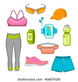 Running Gear For Women. Running Accessories for Female. Fitness Set. Sport Clothes, Cap, Sport Watch, Glasses, Armband, Fitness Drink, Belt Bag, Running Shoes