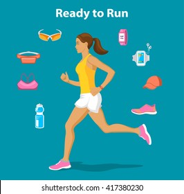 Running Gear for Women. Running accessories and Gadgets For Outdoor Cardio Work Out. Belt bag, sport glasses, sport clothes, fitness bottle, armband, cap, fitness shoes, GPS watch. Running Woman