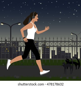 running girl with headphones in sportswear on the background of the city at night. In the background, there are street lights, house, stars in the sky.