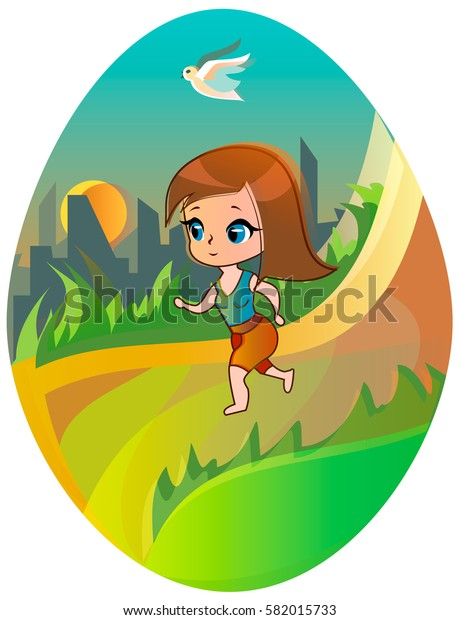 Running girl on the city background