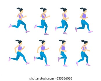 Running girl young female athlete in tracksuit. Vector set of animation frames