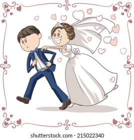 Running Groom Chased by Bride Funny Vector Cartoon - Vector cartoon of a scared groom running away from bride and marriage. File type: vector EPS AI8 compatible. No gradients and no transparencies.