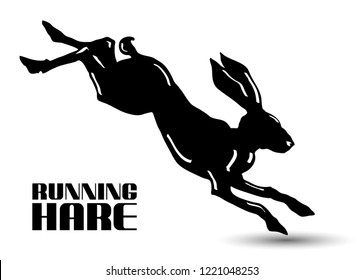 Running hare black and white vector illustration isolated on white background.