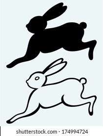 Running hare. Image isolated on blue background