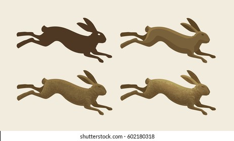 Running hare, set of icons. Rabbit, bunny symbol. Animals, vector illustration