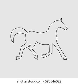 Running horse black line silhouette . Vector illustration