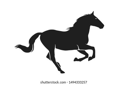 running horse. black stallion side view. isolated vector image in simple style