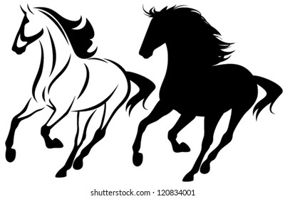 running horse black and white outline and detailed silhouette