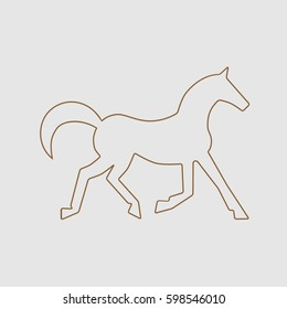 Running horse brown line silhouette . Vector illustration
