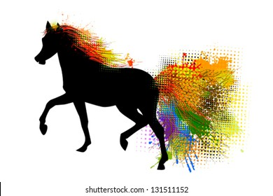 Running horse with colorful tail.  2014 year horses