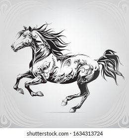 Running horse in floral ornament