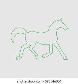 Running horse green line silhouette . Vector illustration