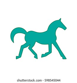 Running horse green silhouette. Vector illustration