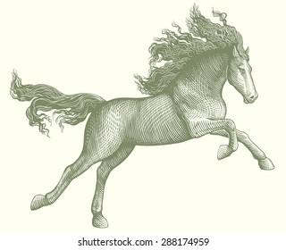 Running Horse. Hand drawn engraving. Vector illustration. 8 EPS