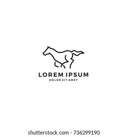 running horse line art outline logo vector icon template