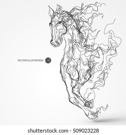 Running horse, lines drawing, vector illustration.