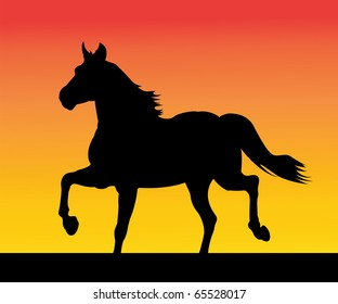 The running horse on an orange background