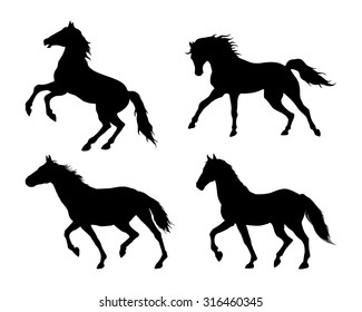 Running horse. Set of black silhouettes. Vector illustration.