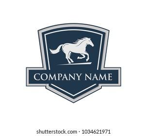 running horse with shield emblem crest vector logo design template