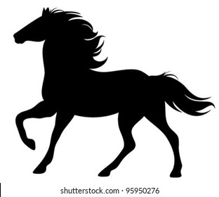 running horse silhouette - black vector outline on white
