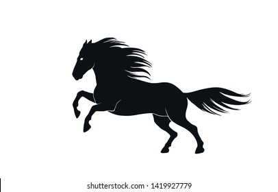 running horse silhouette side view. isolated vector black and white image of stallion
