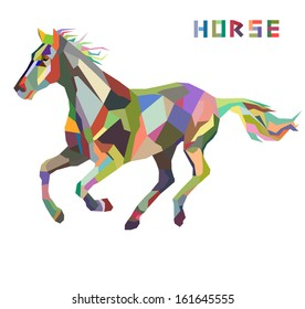 Running Horse symbol of New Year 2014 trendy hipster style on white background in vector