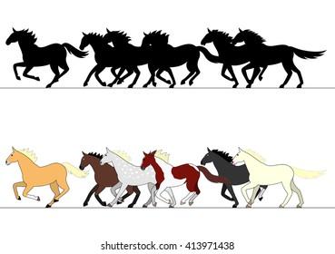 running horses group set