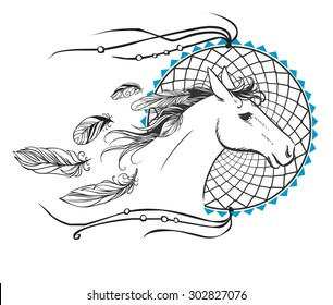 Running horse's head. Hand drawn vector illustration. May be used as tattoo sketch or logo design