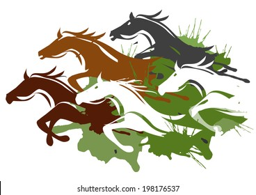 Running horses. Illustration of horses running through the tall grass.  Colorful Vector illustration on white background.