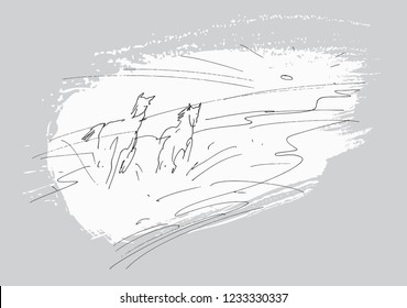 Running Horses - it is quick ink drawing in other version