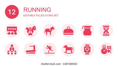 running icon set. Collection of 12 filled running icons included Deadline, Horse, Gym, Measuring glass, Trainer, Treadmill, Running, Pulsometer, Sandclock