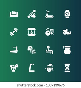 running icon set. Collection of 16 filled running icons included Sandclock, Athlete, Gym, Horse, Measuring glass, Weightlifting, Dung, Treadmill, Football shoes, Deadline, Well