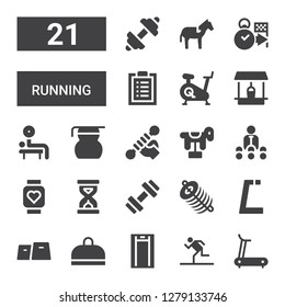 running icon set. Collection of 21 filled running icons included Treadmill, Running, Gym, Dung, Sandclock, Pulsometer, Trainer, Horse, Fitness, Measuring glass, Weightlifting