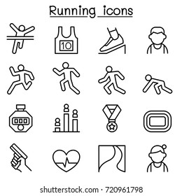 Running icon set in thin line style