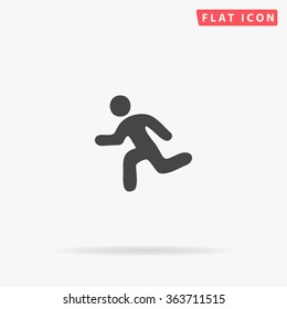 Running Icon Vector. Simple flat symbol. Perfect Black pictogram illustration on white background.