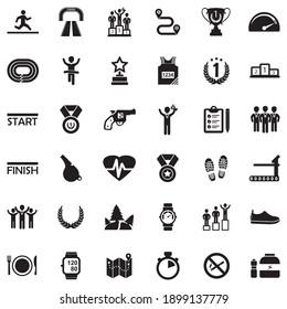 Running Icons. Black Flat Design. Vector Illustration.