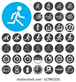 Running icons set. Illustration EPS10