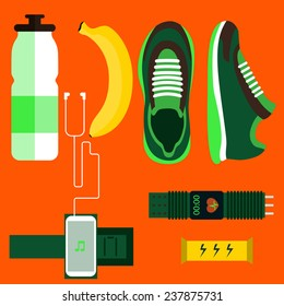 Running icons set shoes, water, banana, phone, sport watch. Top view. Sport Vector illustration
