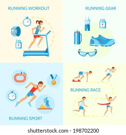 Running jogging composition of workout gear sport race icons isolated vector illustration