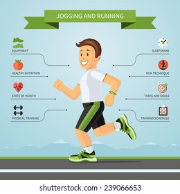 Running and jogging infographics concept with smiling cartoon jogger and the set of flat design style fitness icons. Vector illustration