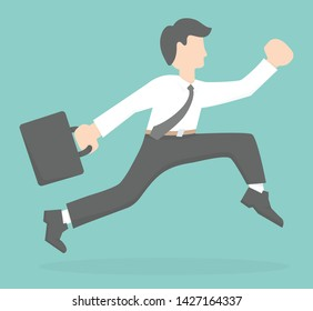 Running or jumping businessman  character holding a black briefcase