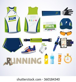 running kit element with typographic for header design. sport concept - vector illustration
