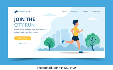 Running landing page template. Man running in the park. Illustration for marathon, city run, training, cardio exercising. Vector illustration in flat style