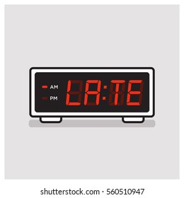 Running Late written on A Vintage Alarm Clock Concept (Line Art in Flat Style Vector Illustration Design)