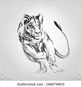 Running lioness in a floral ornament